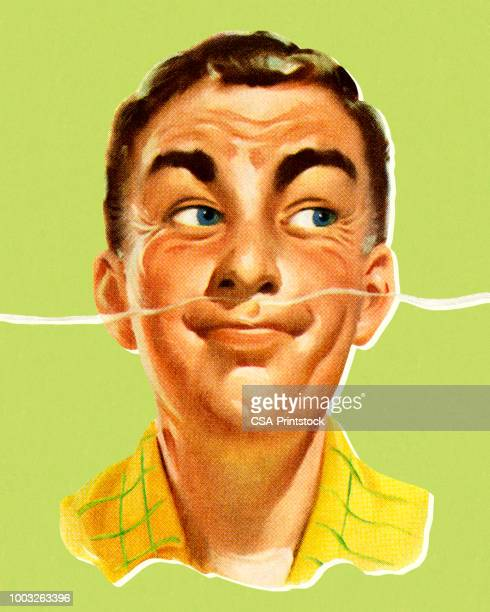 man smelling a pleasant odor - sensory perception stock illustrations