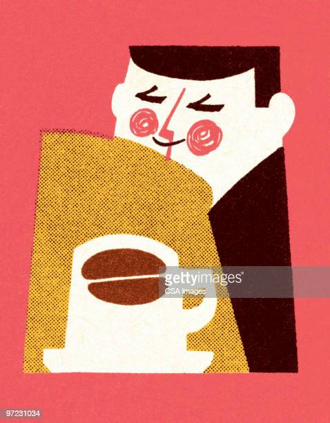 man smelling coffee - roasted coffee bean stock illustrations