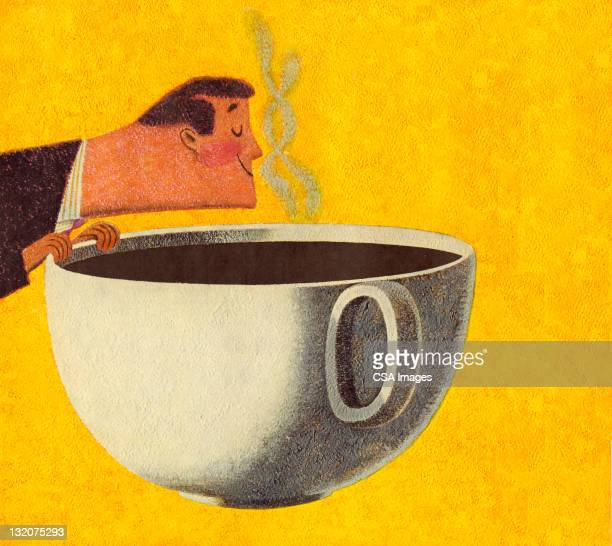 man smelling giant cup of coffee - coffee drink stock illustrations