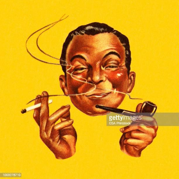 ilustraciones, imágenes clip art, dibujos animados e iconos de stock de hombre fumando un cigarrillo y un tubo de - cigarrillo