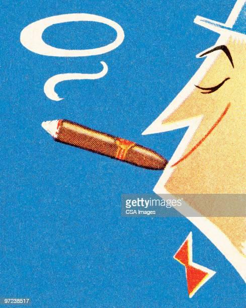 illustrazioni stock, clip art, cartoni animati e icone di tendenza di man smoking cigar - papillon accessorio da portare al collo