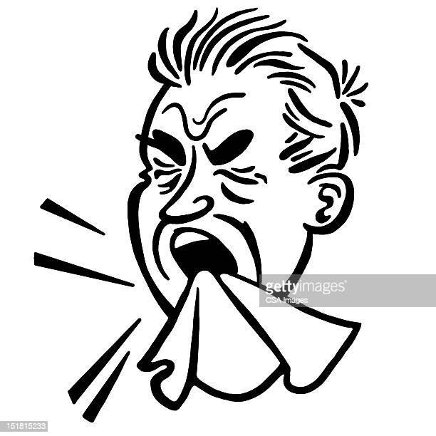 ilustrações de stock, clip art, desenhos animados e ícones de man sneezing - tossir
