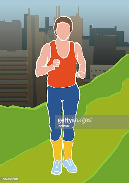man speed walking - racewalking stock illustrations, clip art, cartoons, & icons