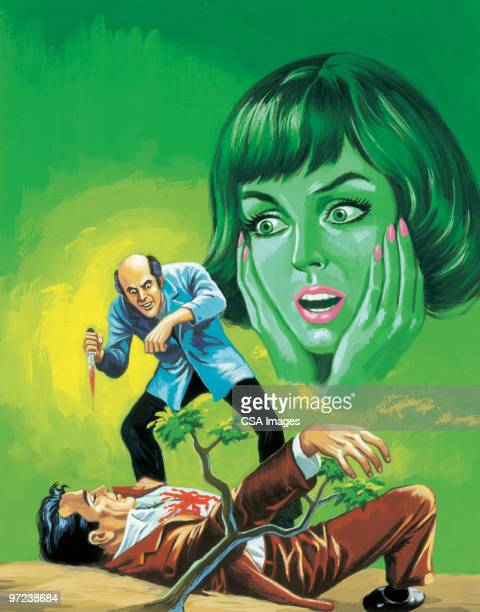 Man Stabbing Other Man as Green Woman Watches