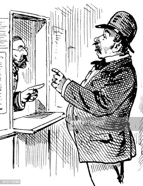man standing at the post office counter talking to manager - post office stock illustrations, clip art, cartoons, & icons