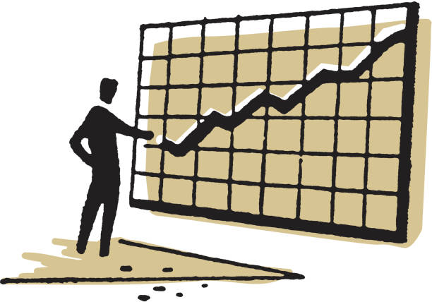 Man Standing by Line Chart