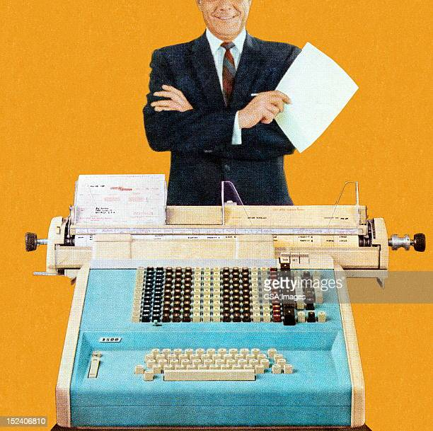 man standing in front of office equipment - mid section stock illustrations
