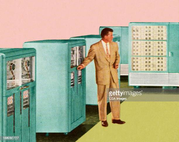 man standing next to office equipment - next stock illustrations