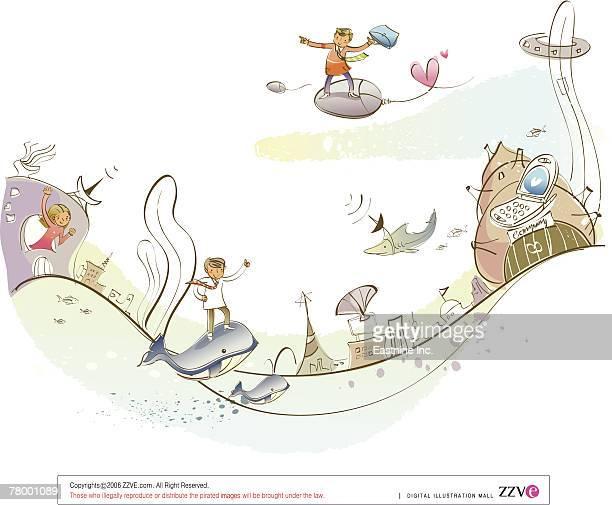 ilustrações, clipart, desenhos animados e ícones de man standing on a fish in the sea - organismo aquático