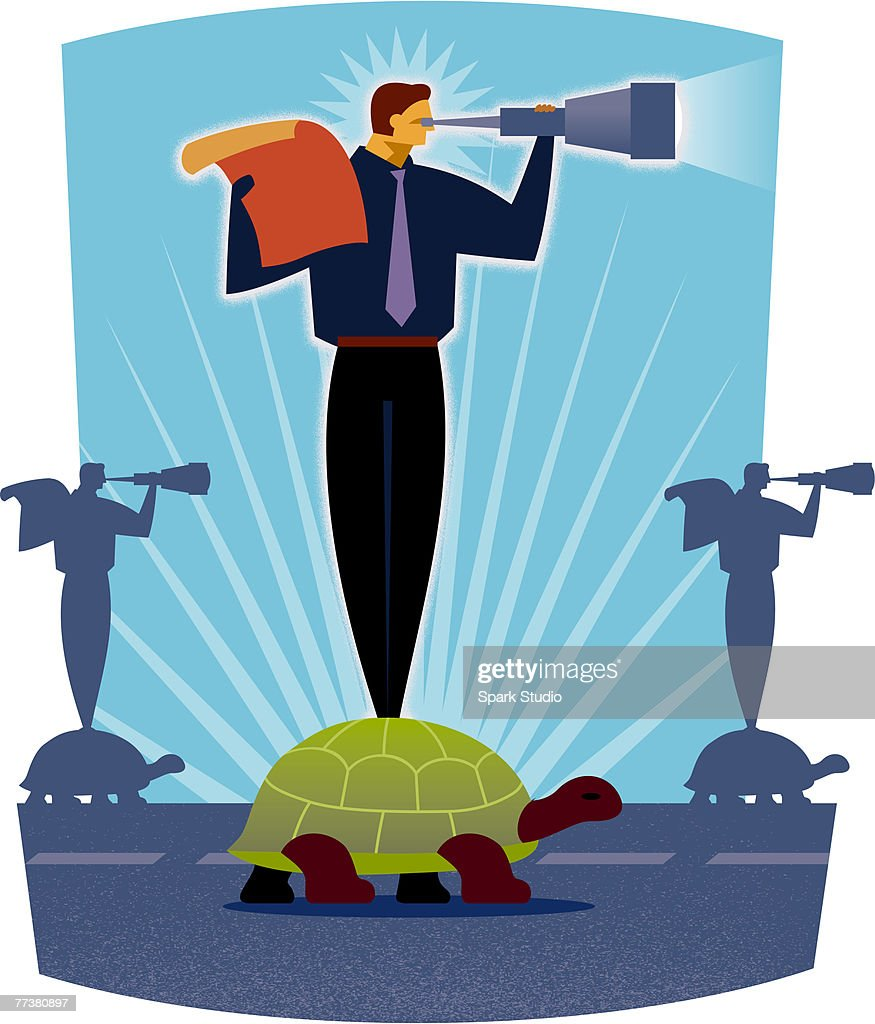 A man standing on a turtle while looking through a telescope : Illustration