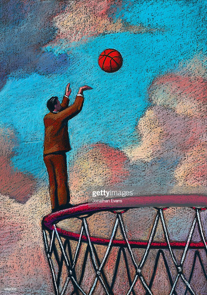 Man Standing on Basketball Hoop : Stockillustraties