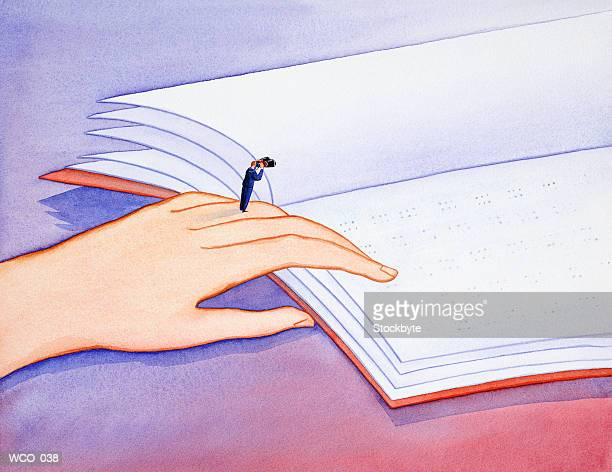 man standing on hand reading braille, looking through binoculars - braille stock illustrations, clip art, cartoons, & icons