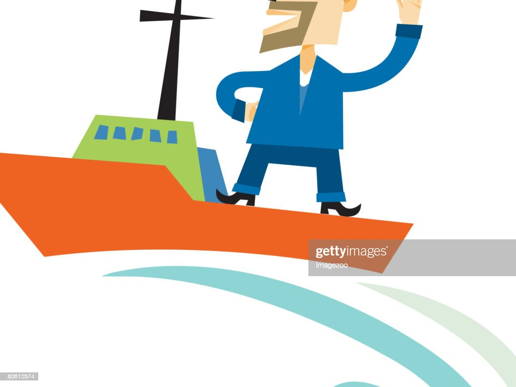 A man standing on the deck of a boat and pointing towards a clock : stock illustration