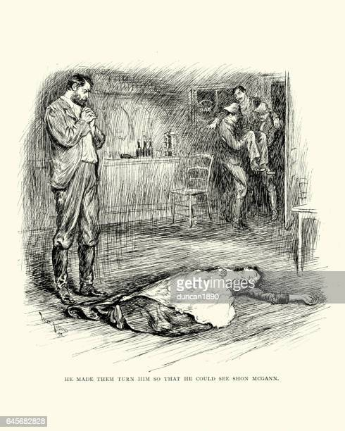 Man standing over the dead body of a woman