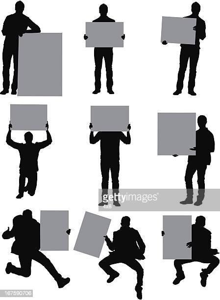 man standing with placards - obscured face stock illustrations, clip art, cartoons, & icons