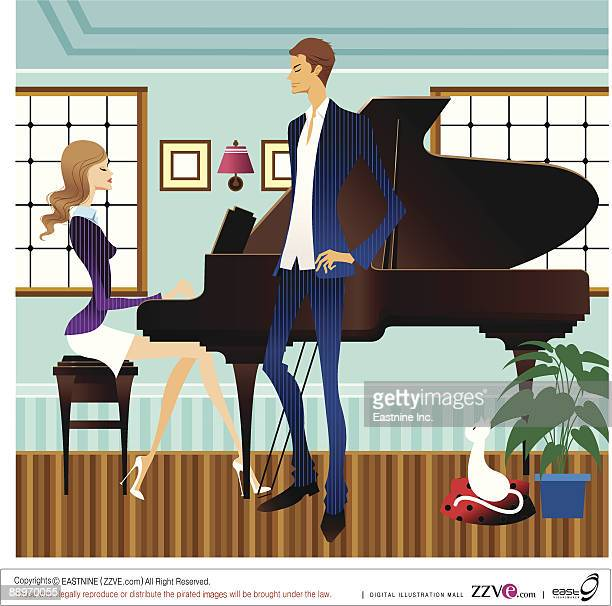 Man standing, Woman playing piano in background