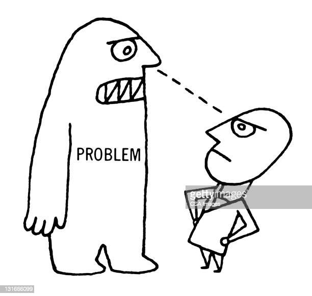 man staring down problem - staring stock illustrations