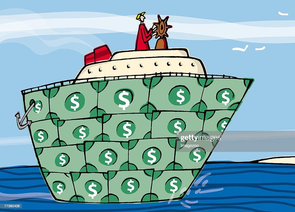 man steering a money yacht : Illustration