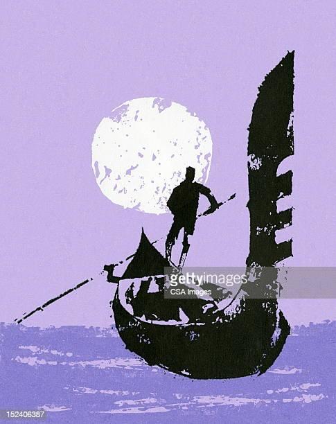 man steering gondola - venice italy stock illustrations, clip art, cartoons, & icons
