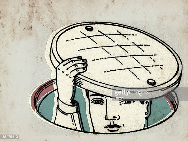a man sticking his head out of a manhole - hidden stock illustrations, clip art, cartoons, & icons