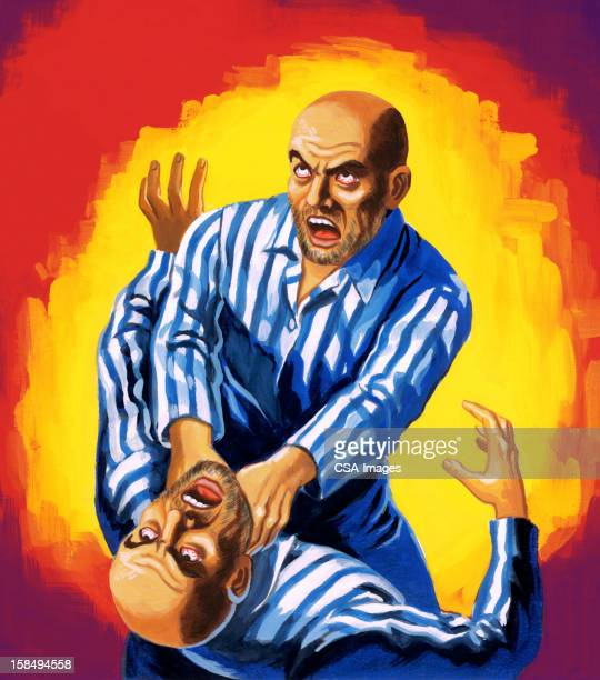 man strangling his twin - murderer stock illustrations, clip art, cartoons, & icons