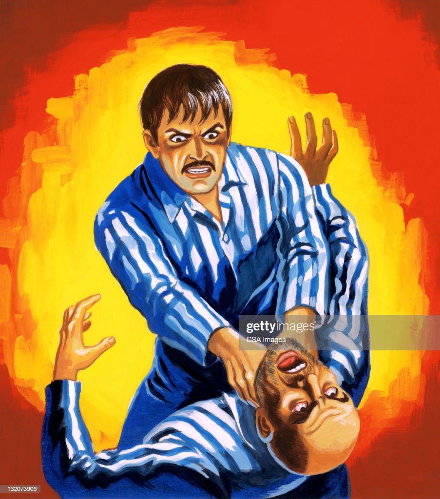 Man Strangling Other Man : Stock Illustration