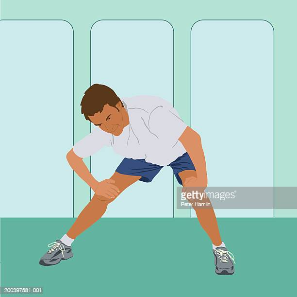 man stretching - bending over stock illustrations, clip art, cartoons, & icons