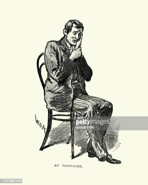 ilustraciones, imágenes clip art, dibujos animados e iconos de stock de hombre que sufre de dolor de muelas, victoriano, siglo xix - dolor de muelas