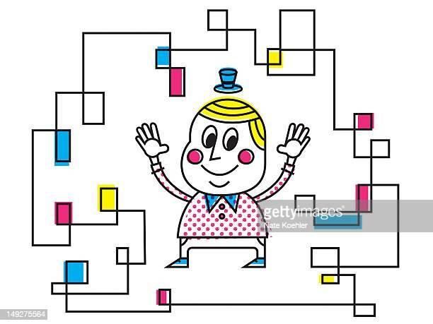 ilustraciones, imágenes clip art, dibujos animados e iconos de stock de a man surrounded by a web of lines - miembro humano