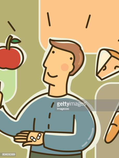 a man surrounded by cheese, bread, and an apple, while holding multivitamins and a glass of water - surrounding stock illustrations, clip art, cartoons, & icons