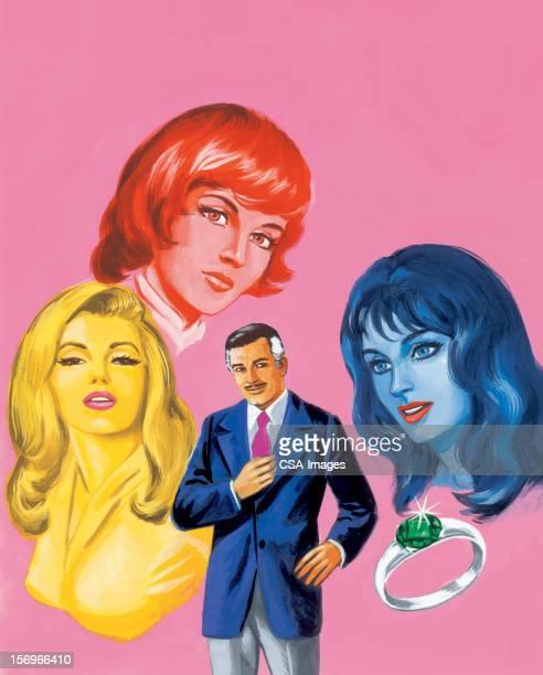 ilustraciones, imágenes clip art, dibujos animados e iconos de stock de hombre rodeado de tres mujeres y anillo - mujeres de mediana edad