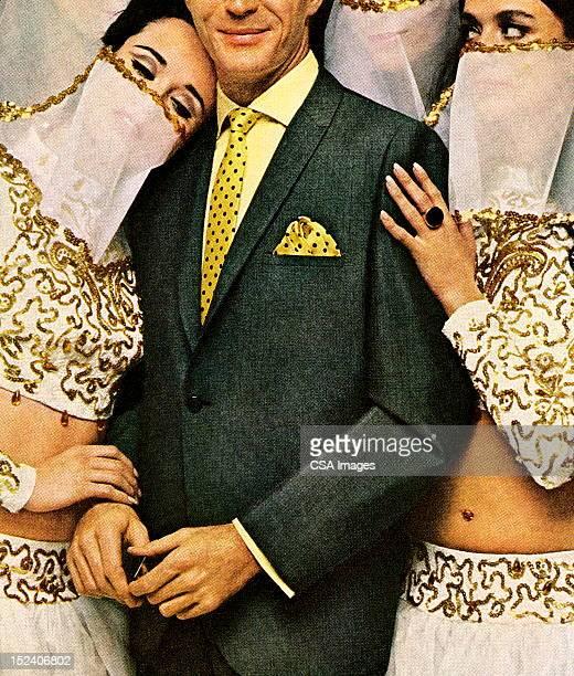 stockillustraties, clipart, cartoons en iconen met man surrounded by veiled ladies - middelste deel