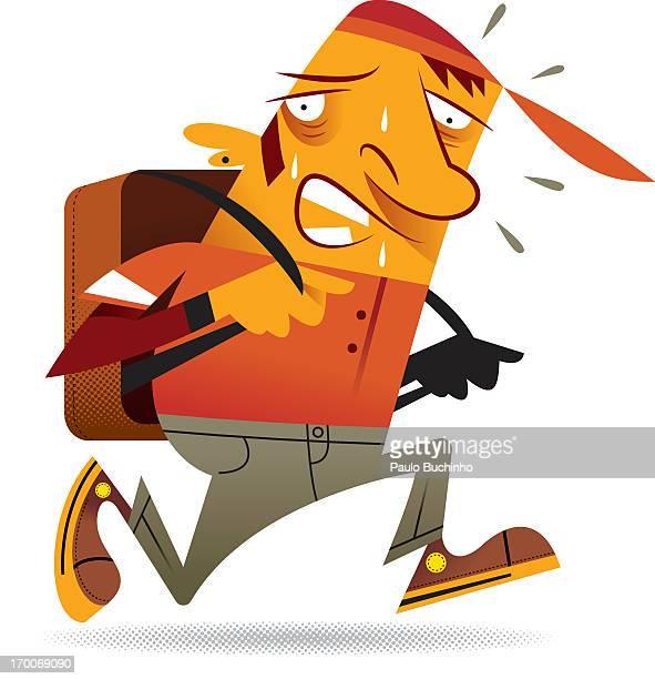 ilustrações de stock, clip art, desenhos animados e ícones de a man sweating while wearing a backpack - buchinho