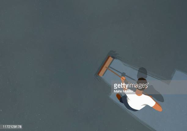 man sweeping floor with broom - image technique stock illustrations