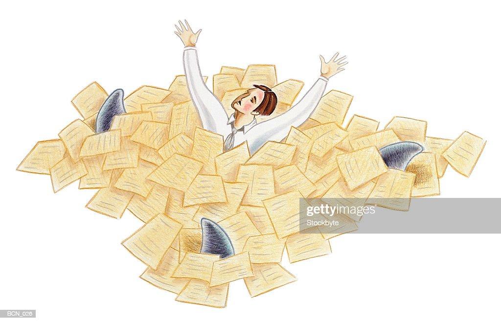 Man swimming in sea of paperwork as three shark fins circle him : stock illustration