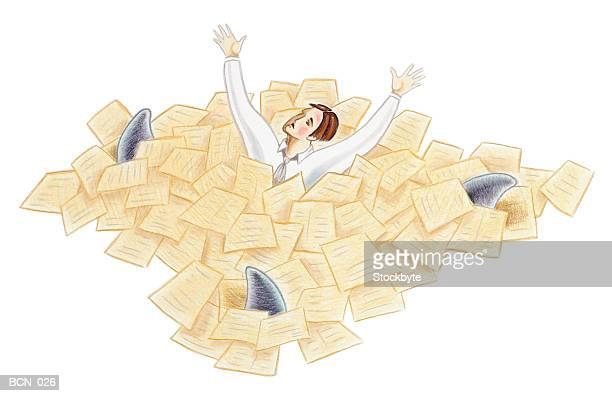 man swimming in sea of paperwork as three shark fins circle him - buried stock illustrations, clip art, cartoons, & icons