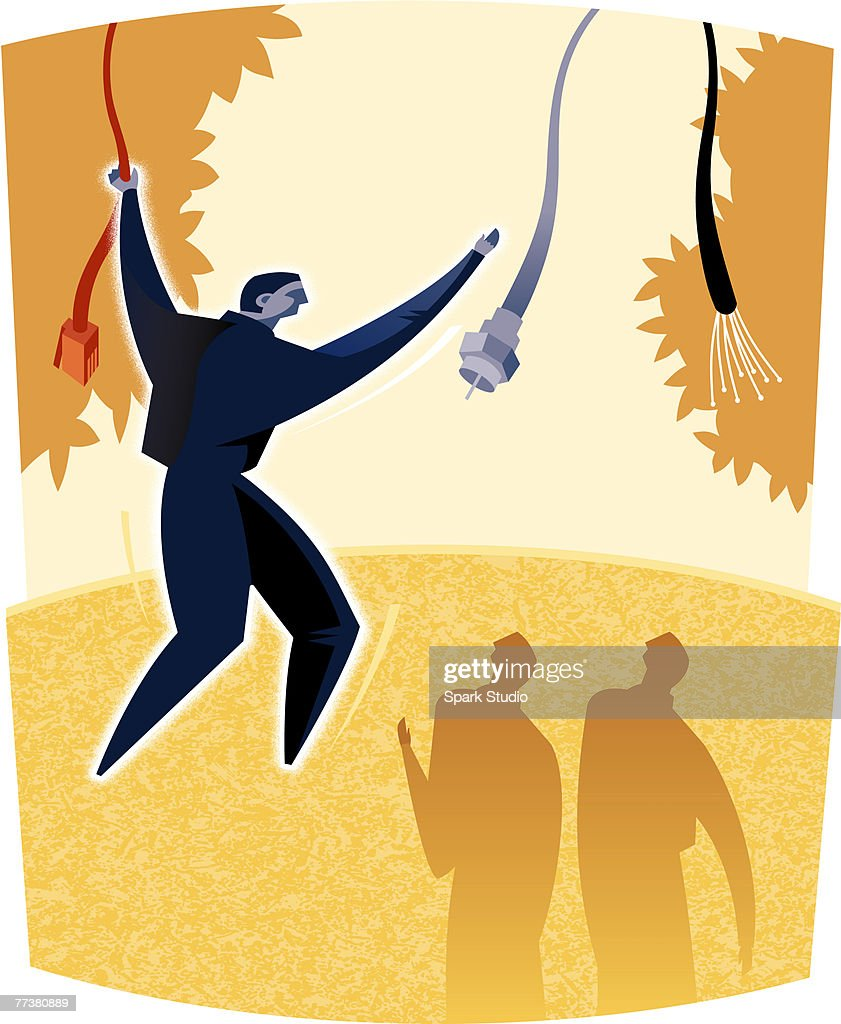 A man swinging from cord to cord : Illustration
