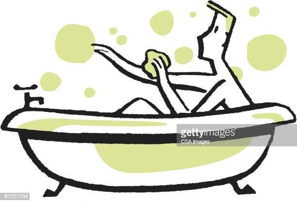 man taking a bath - scrubbing stock illustrations, clip art, cartoons, & icons