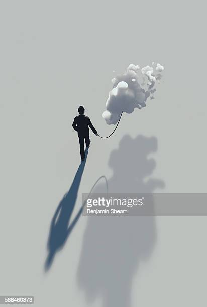 man taking his cloud for a walk - access control stock illustrations, clip art, cartoons, & icons