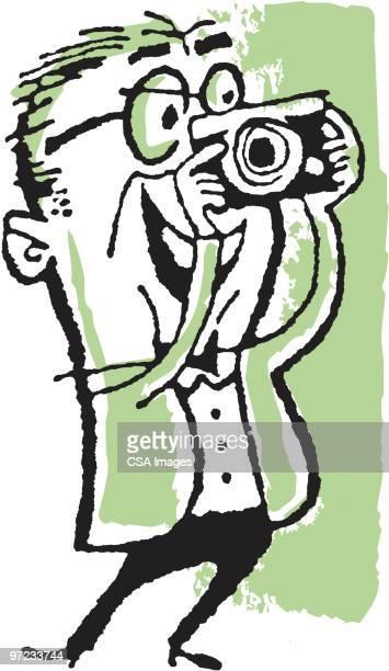 man taking photos - camera stand stock illustrations, clip art, cartoons, & icons