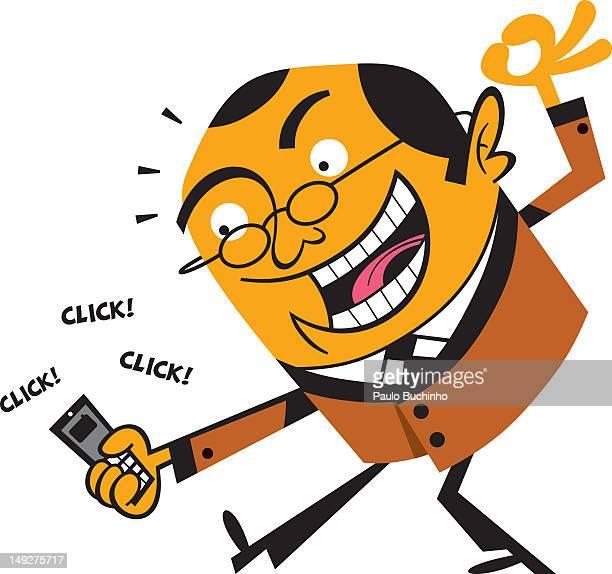 ilustrações de stock, clip art, desenhos animados e ícones de a man taking pictures with his cell phone - buchinho