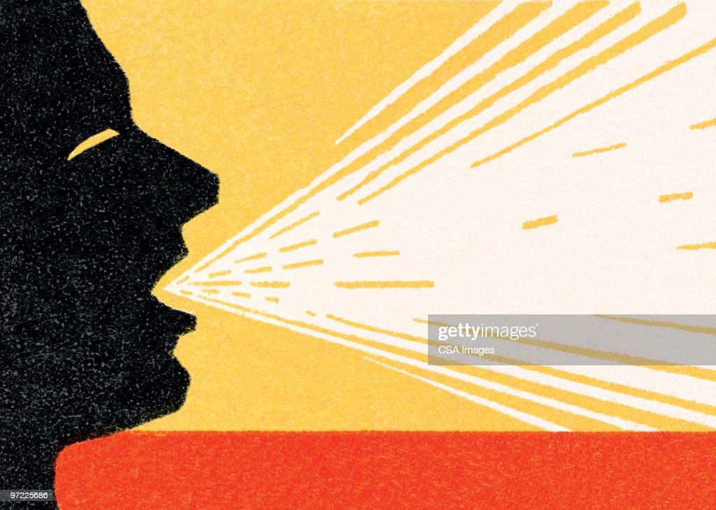 Man talking a lot : stock illustration