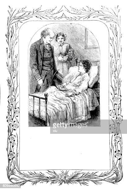 man talking to a boy lying in bed - family fighting cartoon stock illustrations