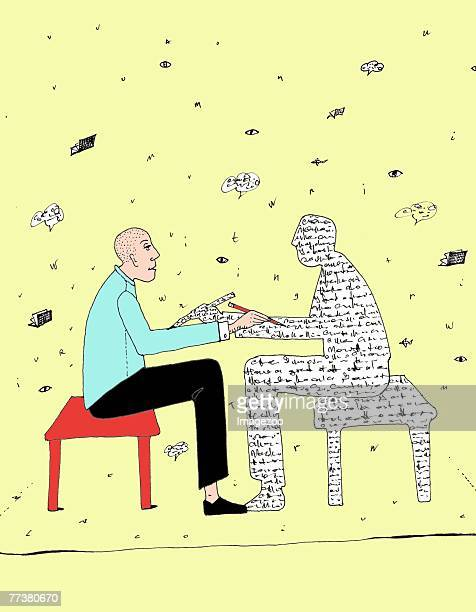 illustrations, cliparts, dessins animés et icônes de man talking to a person made of words - cours d'orthographe