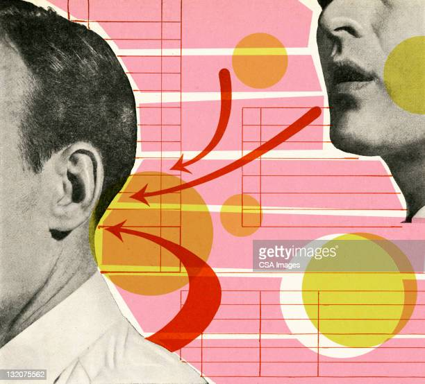 man talking to back of another man's head - listening stock illustrations