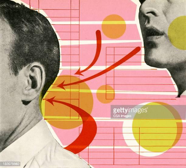 mann spricht auf der rückseite für einen anderen mann's head - zuhören stock-grafiken, -clipart, -cartoons und -symbole