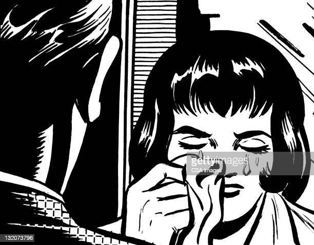 ilustraciones, imágenes clip art, dibujos animados e iconos de stock de hombre hablando para llorar mujer - hombre llorando