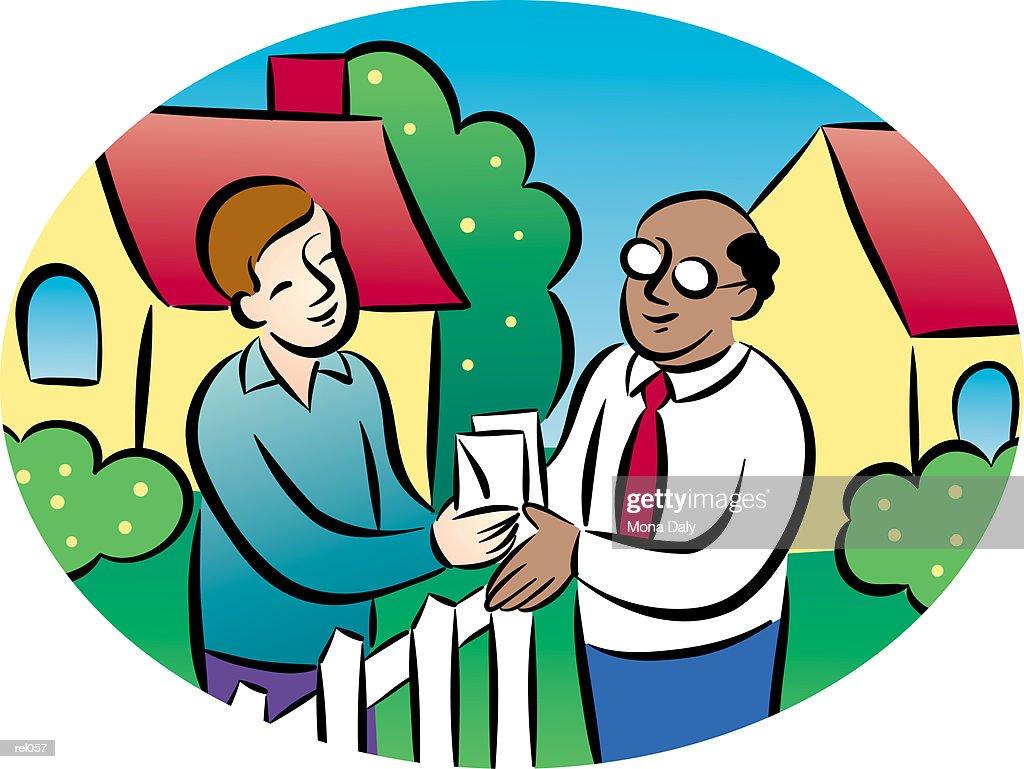 Man Talking to Neighbor : Ilustração de stock