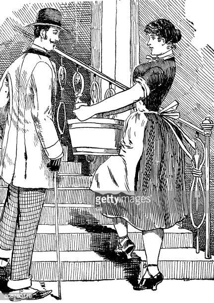 ilustrações de stock, clip art, desenhos animados e ícones de man talking to service maid who goes up the staircase with washing tub - flirting