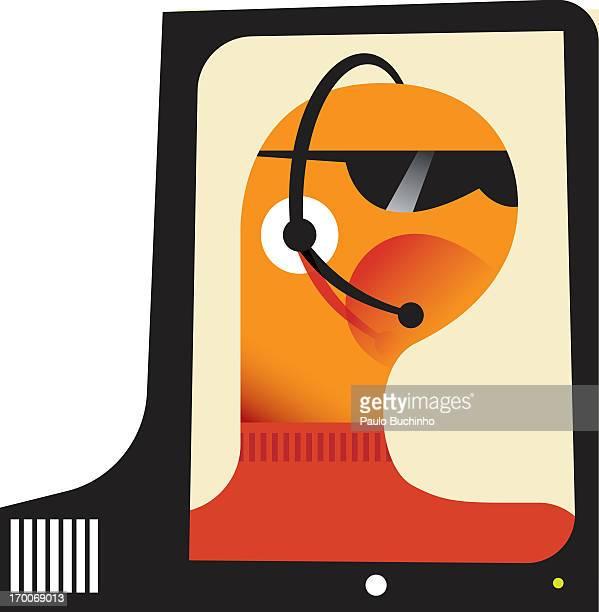 ilustrações de stock, clip art, desenhos animados e ícones de a man talking while using a headset - buchinho